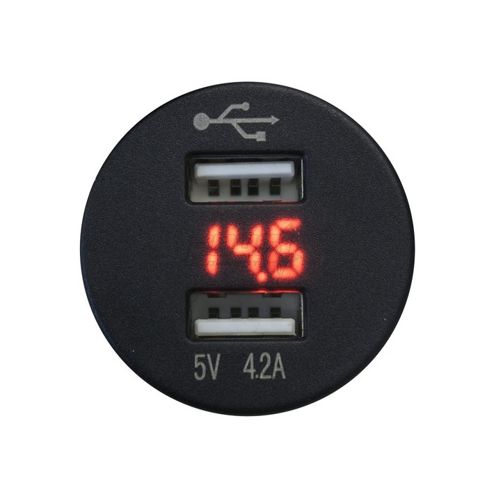 FOUR Connect 4-600156 waterprof USB-charger with voltage display image